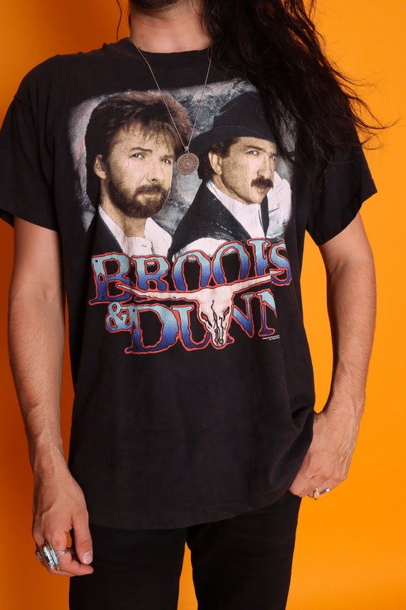 Vintage 1996 90's Country Brooks & Dunn Black Graphic Tee | Epic | Americano | Classic | Music