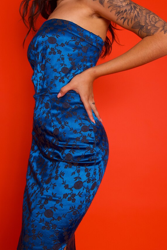 Vintage 'L.A. GLO' Geisha Peacock Blue Sexu Tube Dress W/ Double Slit