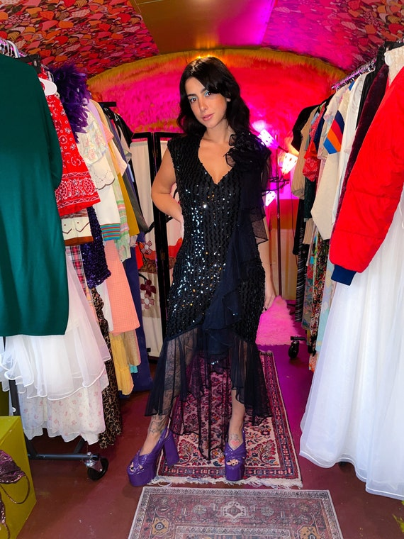 Vintage 'Climax' Black Sequin Mermaid Party Ruffle Dress
