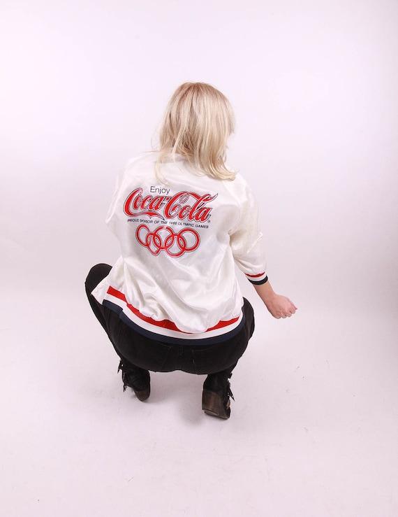 Vintage 'Chalk Line' Coca - Cola USA Olympic White Bomber Jacket W/ Stripes   Sportswear   Americana   Made in USA