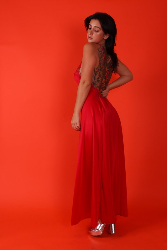 Vintage 1970's 'GiGi' Disco Babe Deep Red Backless Slip Nightgown