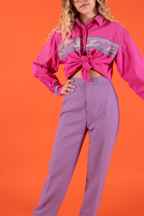 Vintage 90's Western Cowgirl 'Wrangler' Pink and Purple Mustang Blouse