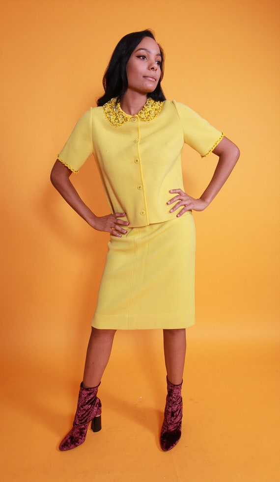 Vintage 1960's Retro Yellow Skirt Suit | Set | Sequin and Beaded Detail | High Waisted Skirt | Jacket | Posh | Professional