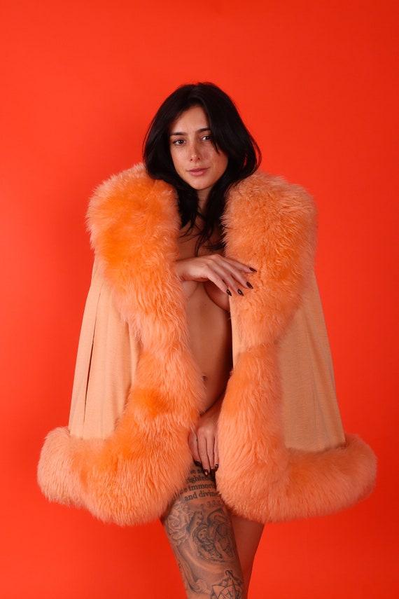 Vintage Plush Peach Orange Shearling Fur Cape Jacket