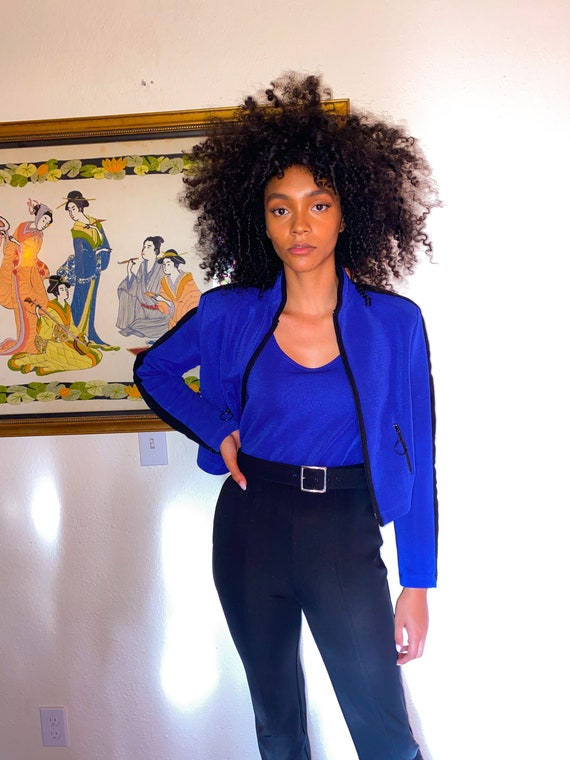 Vintage 90's 'Cache' Royal Blue and Black Sexy Jumpsuit W/ Matching Jacket
