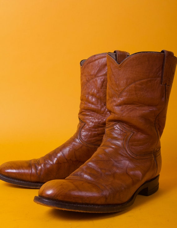 Vintage Men's 'Justin' Tan Brown Brindle Leather Roper Pull On Boot | Western Cowboy | Round Toe