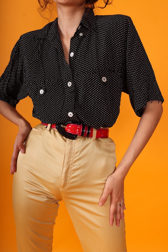 Vintage 90's 'Karen Kane' Black and White Polka Dot Button Up Blouse | Made in USA