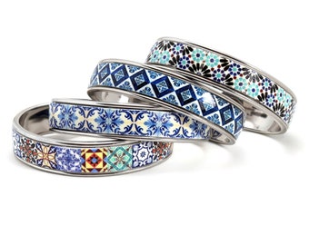 Portuguese tile bracelet, cuff brass bracelet, colorful bangle bracelet, anniversary gifts for women