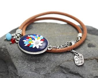 Colorful leather bracelet, boho flower bracelet, unique blue bracelet, charm bracelet, wrap bracelet, anniversary gift for girls and women