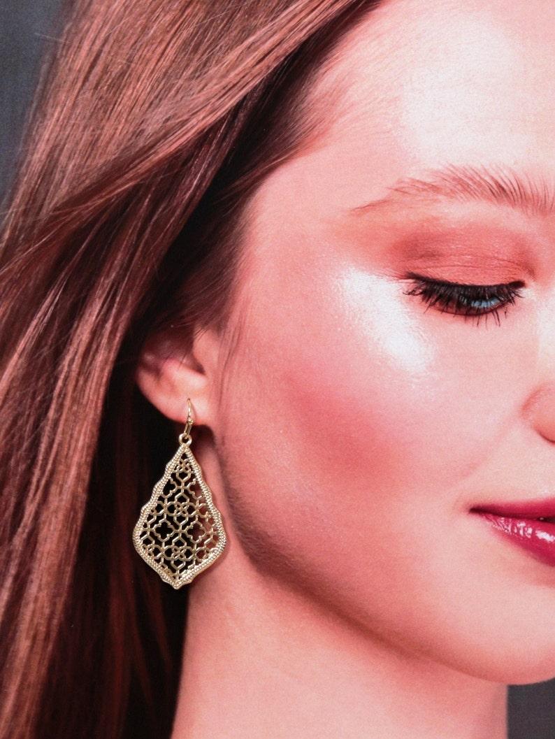 anniversary gifts for women 18K gold plated Portuguese jewelry Gold filigree earrings Rhombus geometric earrings