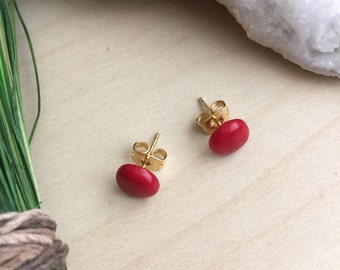 Small Red Coral Earrings on Gold Plated or Surgical Steel Posts Hypoallergenic Gemstone Studs Sensitive Skin Minimal Earrings Women's Gift