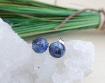 Blue Sodalite Earrings on Surgical Steel Posts Hypoallergenic Gemstone Studs Sensitive Skin Denim Blue Gem Gift for her under 20