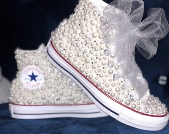 d8cab0335854 Women s White Pearl High Top Chuck Taylor All Star Converse with  Bling-Wedding-Party all sizes