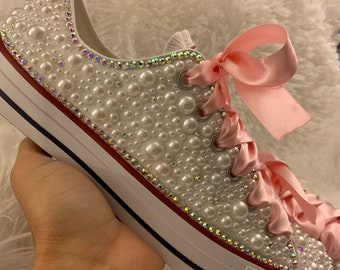 7ec623ba5d12e Women s Bling Converse with Pearls for Wedding