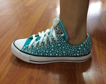 752066c259eb Women s Blue Turquoise Custom Converse All Star Chuck Taylor with pearls