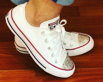 Women s White Custom Converse sneakers with Bling rhinestones size 7 2606c6f64