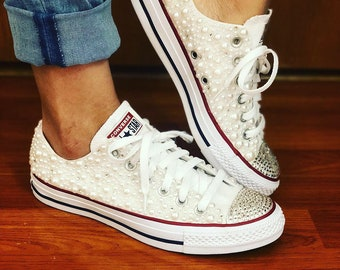 ed6f217c6496 White Pearl Chuck Taylor All Star Wedding Converse with Bling for Bride and  Wedding all sizes