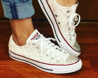 39c9780087f1 White Pearl Chuck Taylor All Star Wedding Converse with Bling for Bride and  Wedding all sizes