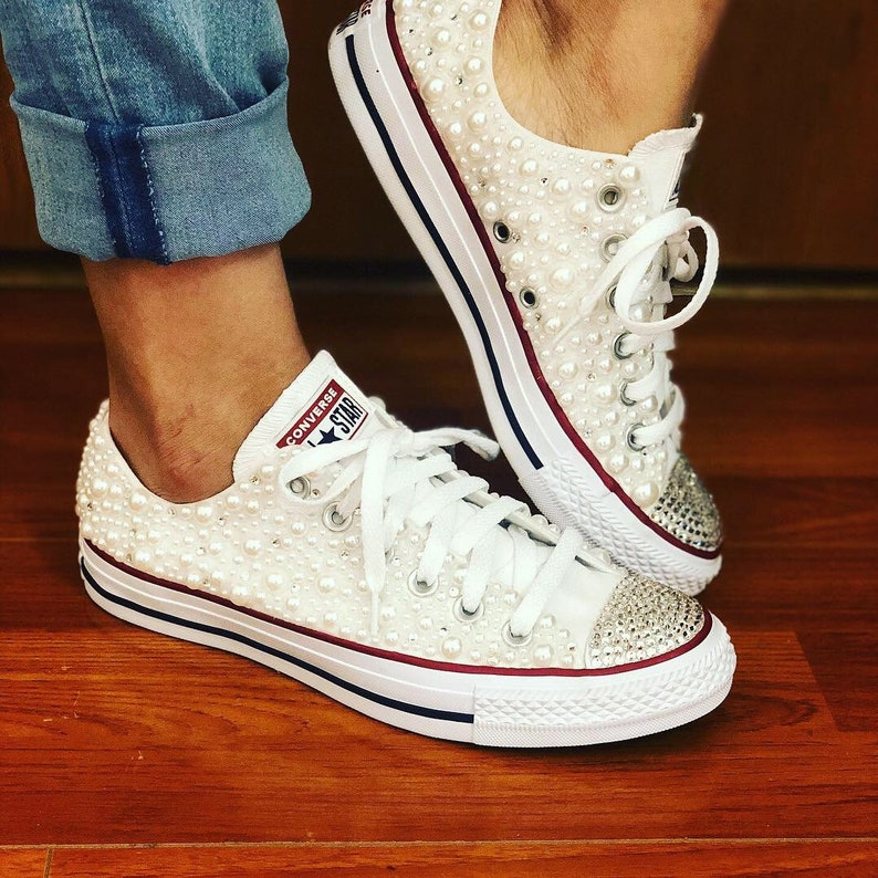 8e6d4587af37 White Pearl Chuck Taylor All Star Wedding Converse with Bling