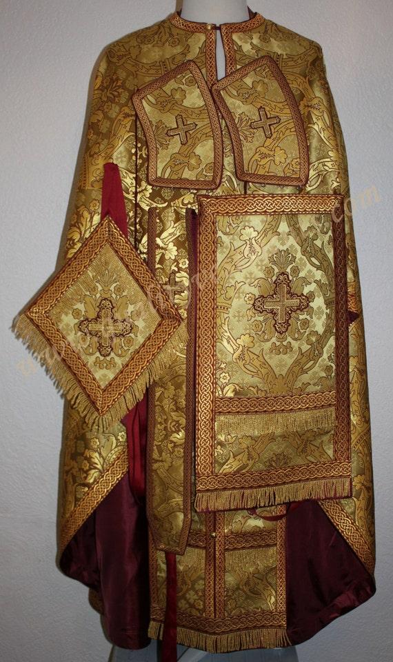premium selection 16feb a4423 UM ZU BESTELLEN! Priester der orthodoxen Gewand griechischen Stil Burgund  Metallic Goldbrokat