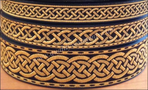 Qualité Marron et Or Large Tissus Jacquard Ribbon Trim Braid 50 mm par mètre