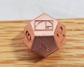 Zucati Dice EleMetal™ Solid Copper Fibonacci Golden Spiral Die