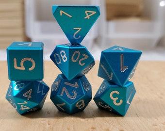 Zucati Dice EleMetal™ Aluminum Polyhedral Set of 7 - Sky Blue