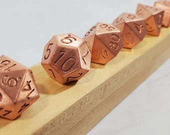 Solid Elemental Copper Polyhedral Dice - White Maple Case Included