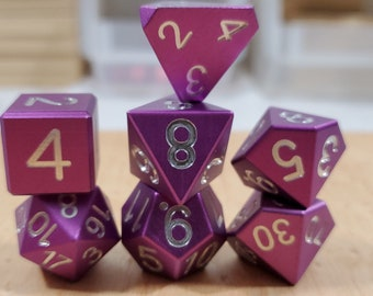 Zucati Dice EleMetal™ Aluminum Polyhedral Set of 7 - Royal Purple