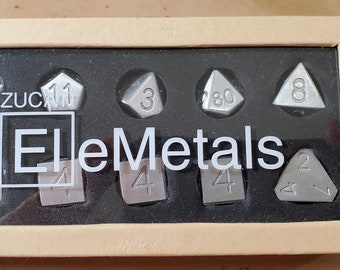 Zucati Dice EleMetal™ Aluminum Polyhedral Set of 10 - Natural Naked