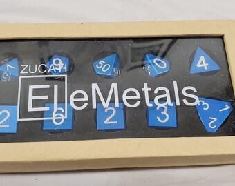 Zucati Dice EleMetal™ Aluminum Polyhedral Set of 10 - Ocean Blue