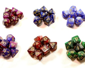 Perfect Plastic™ Celestial Polyhedral Dice Sets (Prototype) (Polished with Gold Ink)
