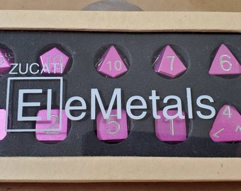 Zucati Dice EleMetal™ Aluminum Polyhedral Set of 10 - Rose Blush