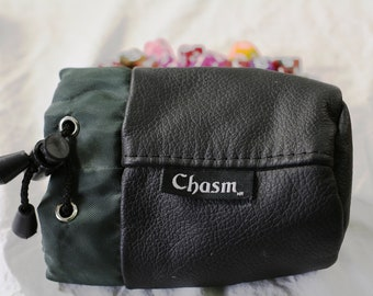Vintage Leather and Rip-Stop Nylon draw string dice bag - Chasm Black