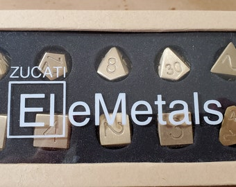Zucati Elemetals Lead-Free Bronze Alloy 10pc Polyhedral Dice Set