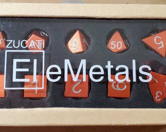 Zucati Dice EleMetal™ Aluminum Polyhedral Set of 10 - Deception Orange