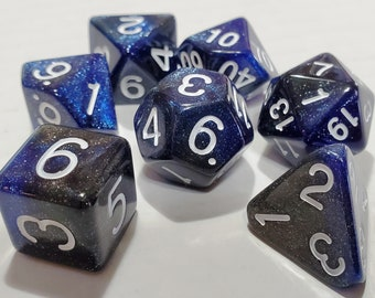 Perfect Plastic™ Celestial Polyhedral Dice Set - Deep Space Blue - Polished