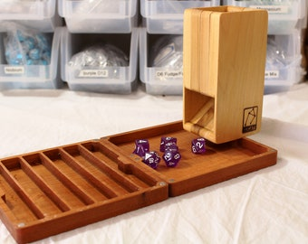 Zucati FLUME 2 Dice Tower, Rolling Tray, and Dice Organizer - Poplar Wood Tower - Cherry Wood Vault / Base
