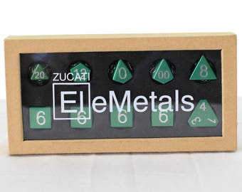 Zucati Dice EleMetal™ Aluminum Polyhedral Set of 10 - Forest Green