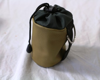 Vintage Leather and Rip-Stop Nylon draw string dice bag - Chasm Brown