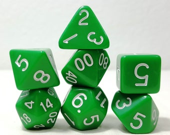 Perfect Plastic Dice - Gloss Polish with Ink - Green / White Ink