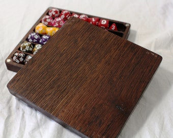 Zucati Dice Case / Tray / Rolling Surface Player Core - Wenge with Brown Leather