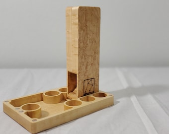 Birdseye Maple Dice Tower and dice storage case system