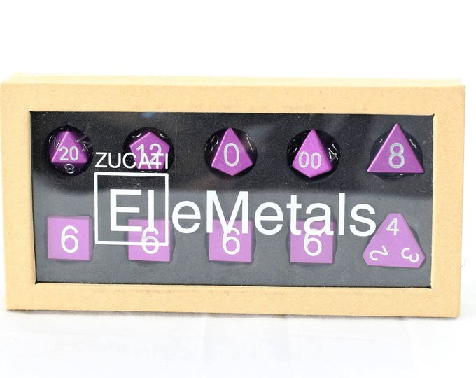 Featured listing image: Zucati Dice EleMetal™ Aluminum Polyhedral Set of 10 - Royal Purple