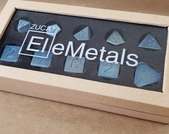 Zucati Elemetals Pure Niobium 10pc Polyhedral Dice Set