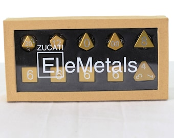 Zucati Dice EleMetal™ Aluminum Polyhedral Set of 10 - Golden-Rod Yellow
