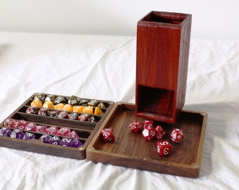 Zucati FLUME 2 Dice Tower, Rolling Tray, and Dice Organizer - Paduk and Walnut