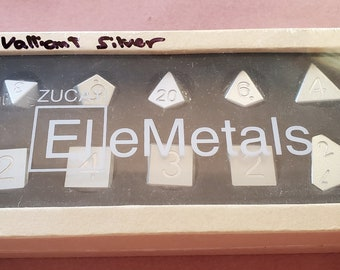 Zucati Dice EleMetal™ Aluminum Polyhedral Set of 10 - Valliant Silver