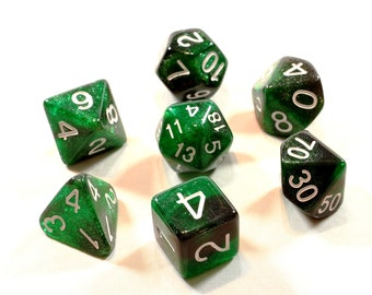 Perfect Plastic™ Celestial Polyhedral Dice Sets (Space Dust Green) (Polished with White Ink)