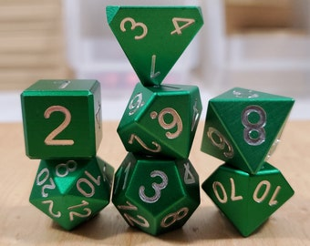 Zucati Dice EleMetal™ Aluminum Polyhedral Set of 7 - Forest Green